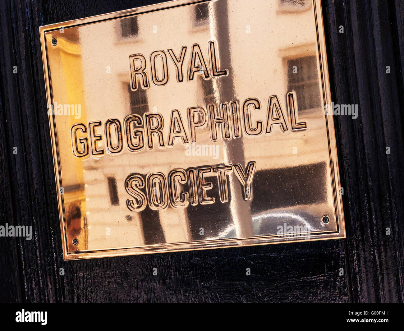 Royal Geographical Society targa in ottone, South Kensington, Londra Foto Stock