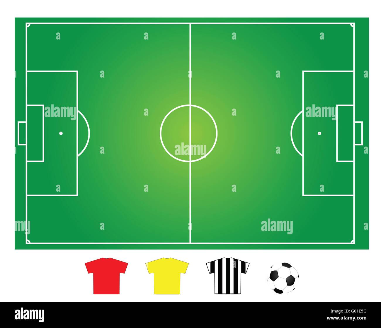 Il calcio o il campo da calcio del layout per la spiegazione della strategia Immagini Stock