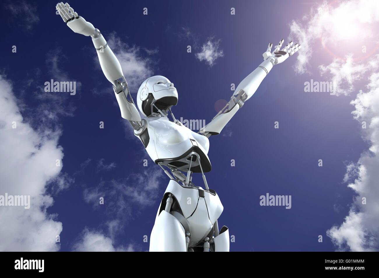 Femmina robot umanoidi con bracci sollevato al cielo in esaltazione Immagini Stock