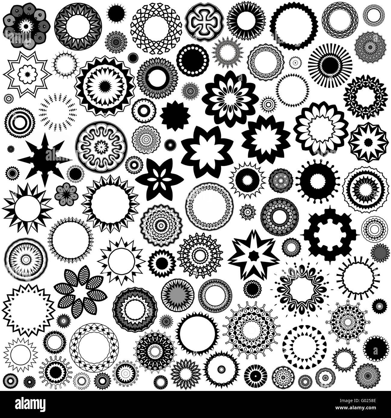 100 forme in bianco e nero Immagini Stock