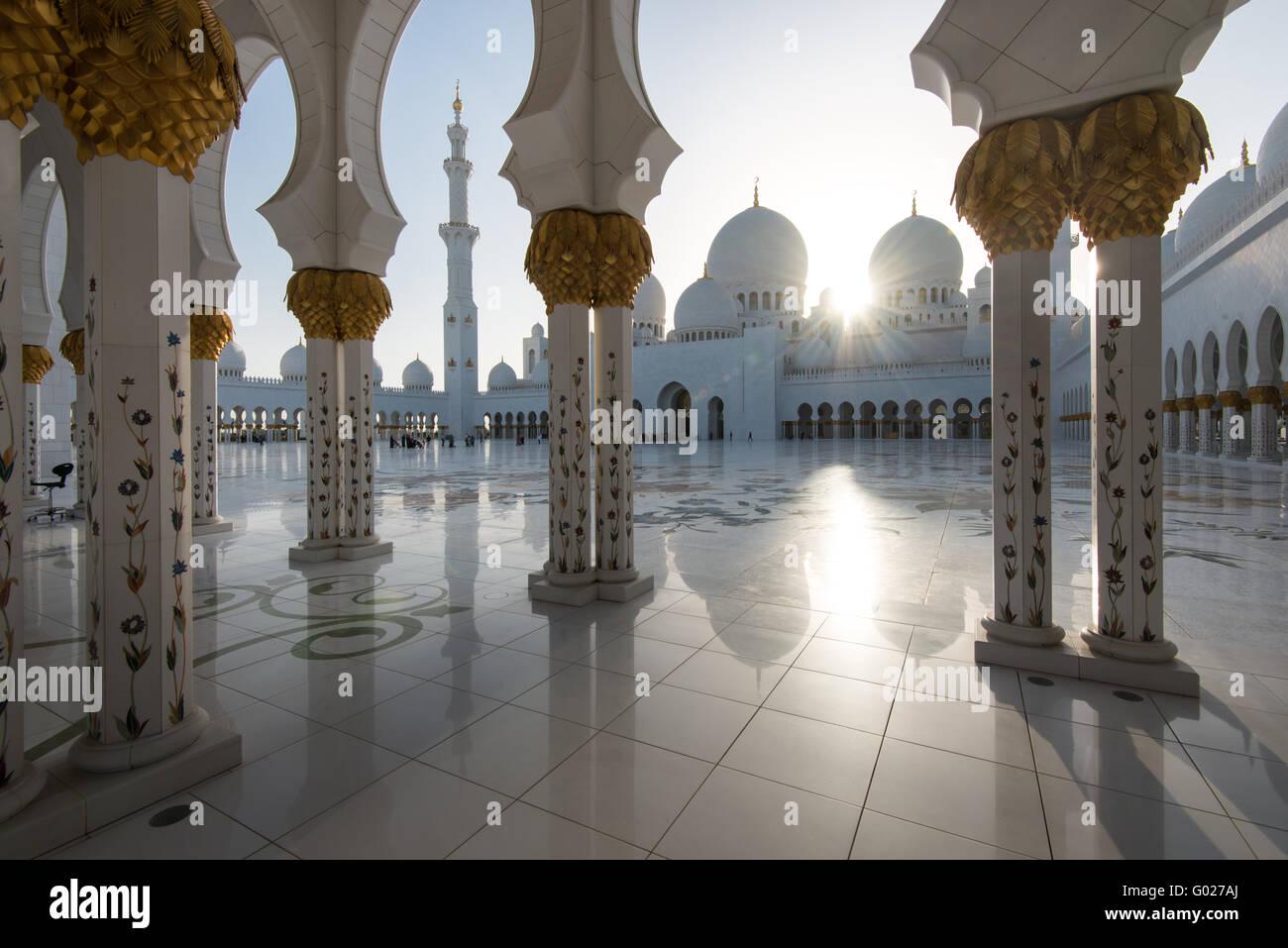 Abu Dhabi Sheikh Zayed Grande moschea. Immagini Stock