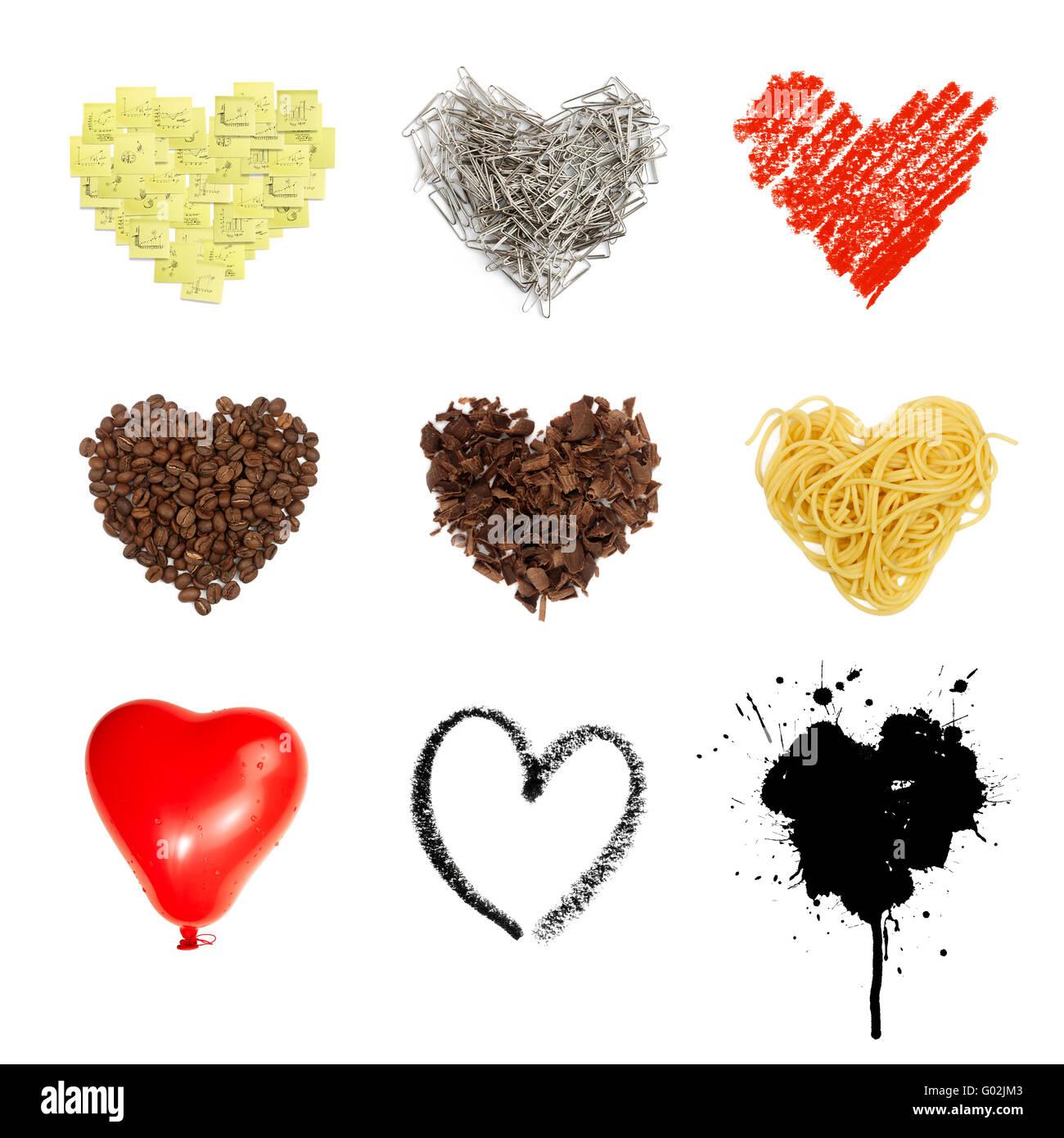 A forma di cuore ad impostare i simboli. Nove in uno, isolati su sfondo bianco. Foto Stock