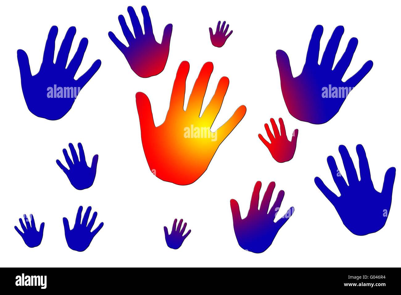Vettore di disegno raffigurante le mani Immagini Stock