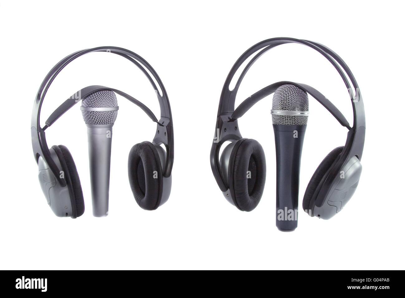 In aria!!! Microfono DJ cuffie wireless su esso isolate su sfondo ... ce9d39a54d45