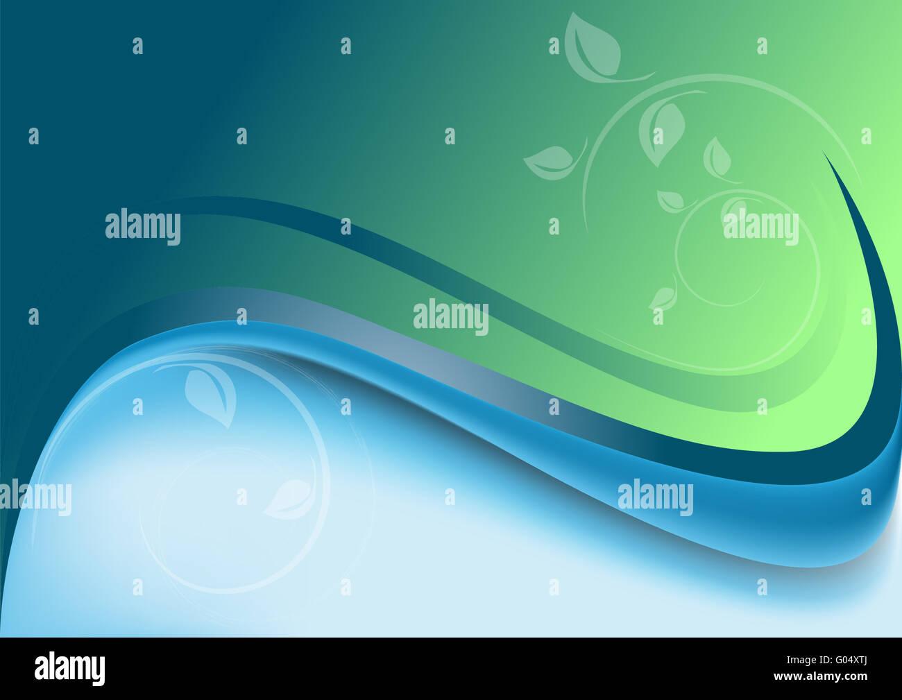 Abstract onde blu verde con sfondo bianco de Immagini Stock