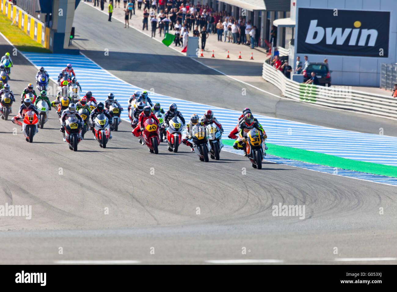 Inizio della gara di Moto2 della CEV Championship Immagini Stock