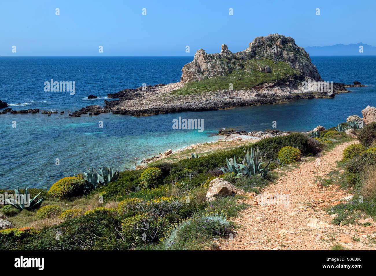 Levanzo Isole Egadi, Trapani, Sicilia, Italia Immagini Stock