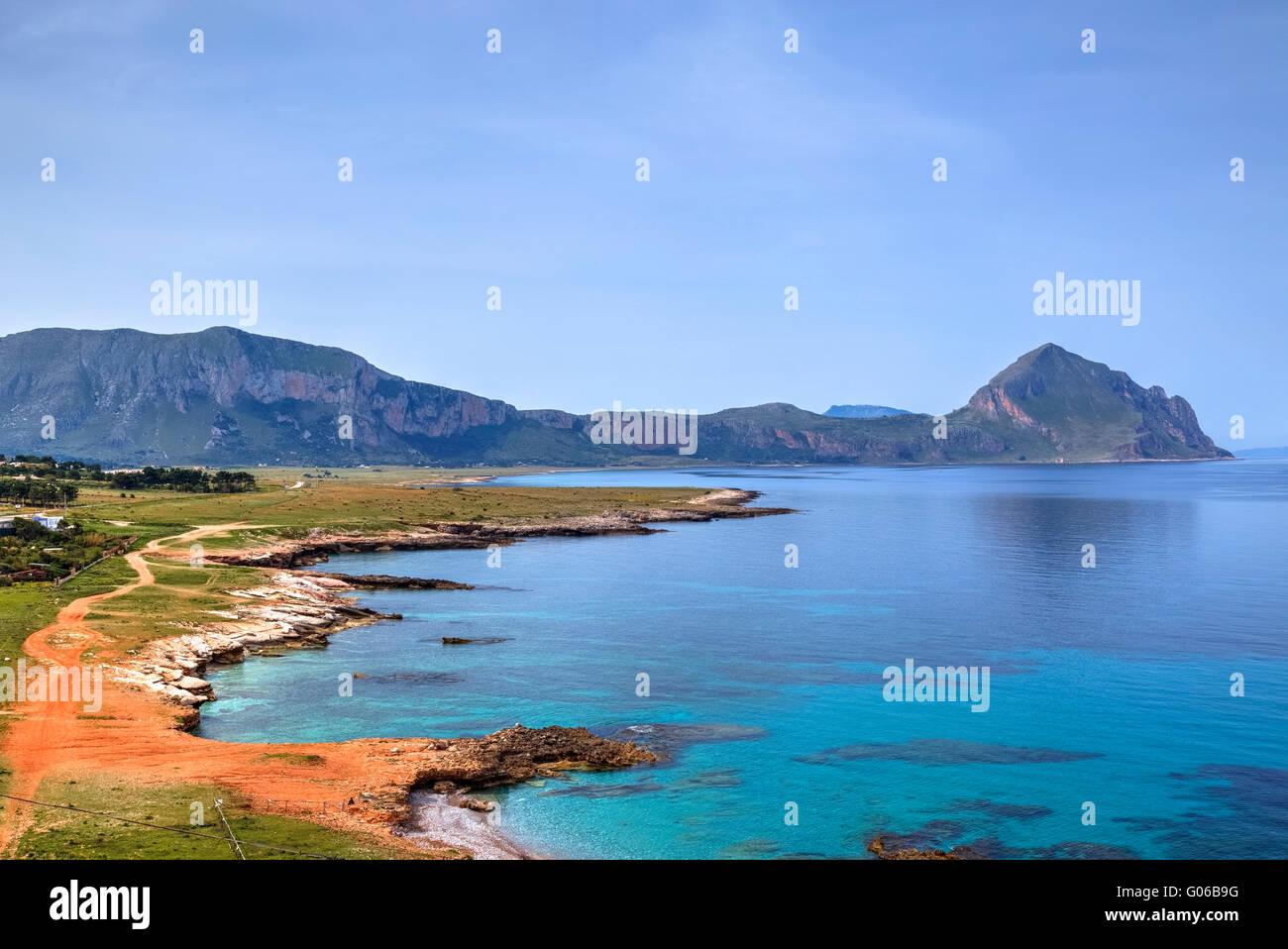 Il Monte Cofano, tarpani, Erice, in Sicilia, Italia Immagini Stock