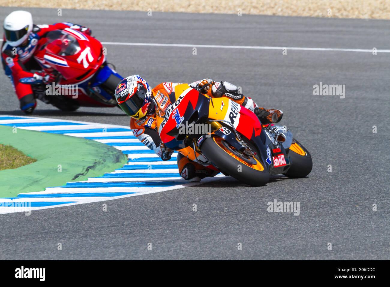 Stoner e Ellison i piloti della MotoGP Immagini Stock