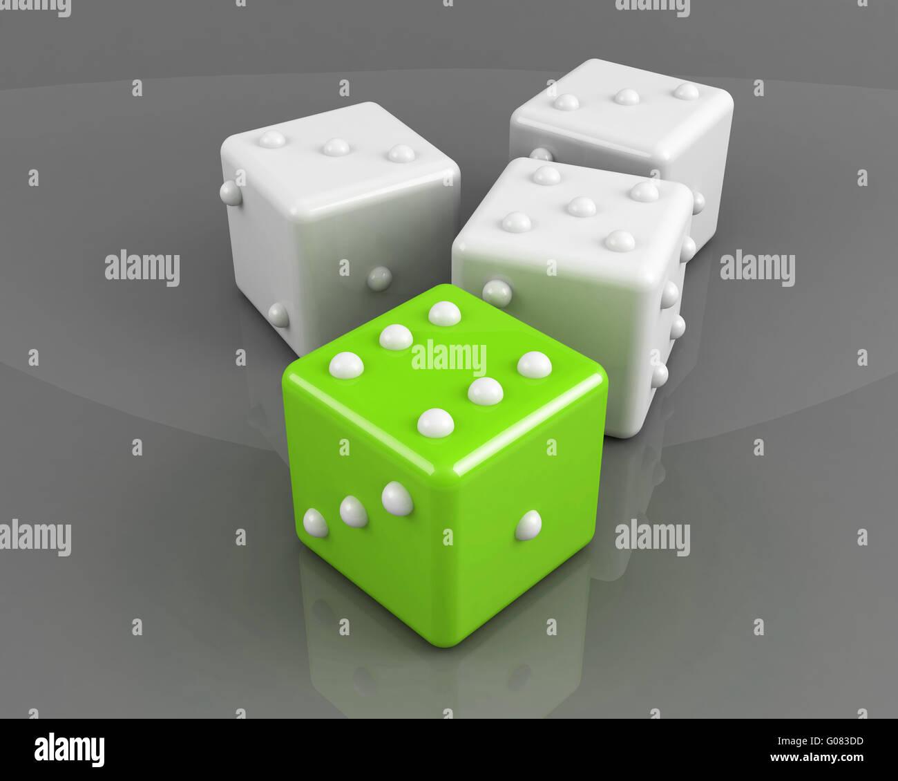 Verde dadi vincente su sfondo grigio concept Immagini Stock
