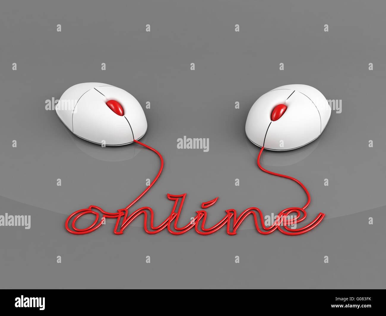 Il collegamento on-line concetto su sfondo grigio Immagini Stock