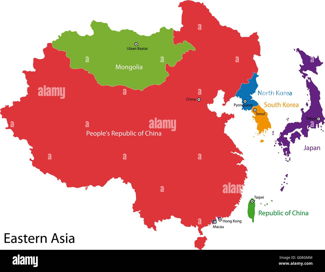 Cartina Dell Asia Orientale.Asia Orientale Mappa Foto Stock Alamy