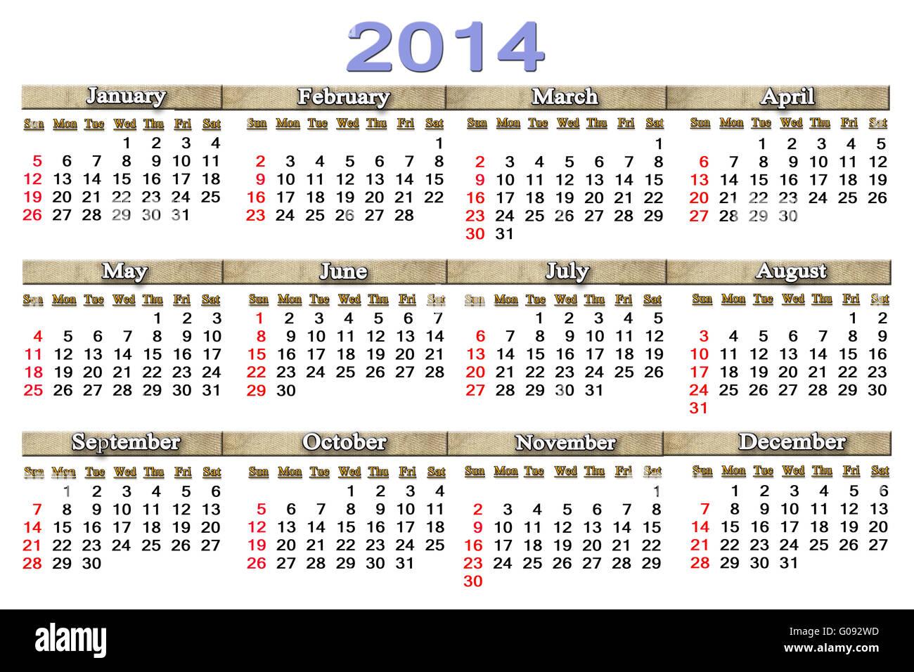 Calendario Anno 2014.Semplice E Preciso Per Il Calendario 2014 Anno Sul Foto