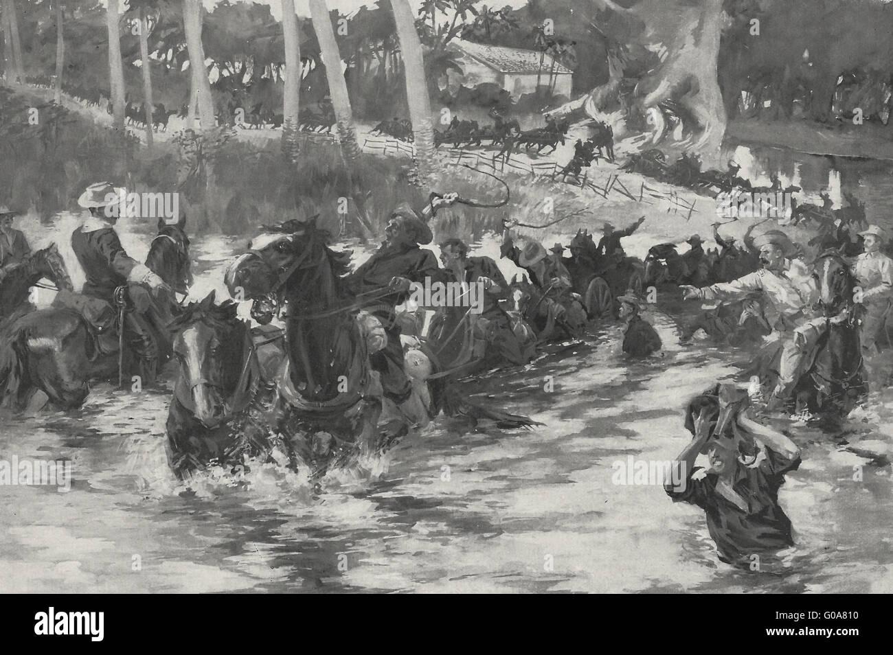 Marzo di Stati Uniti artiglieria su quasi strade impraticabili durante la spagnola guerra americana, 1898 Immagini Stock