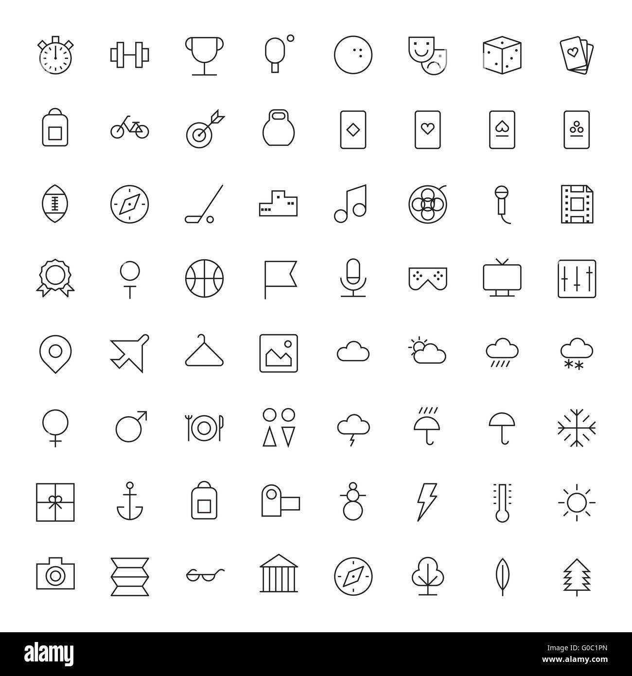 Linea sottile le icone per il tempo libero, sport, viaggi e Meteo Immagini Stock