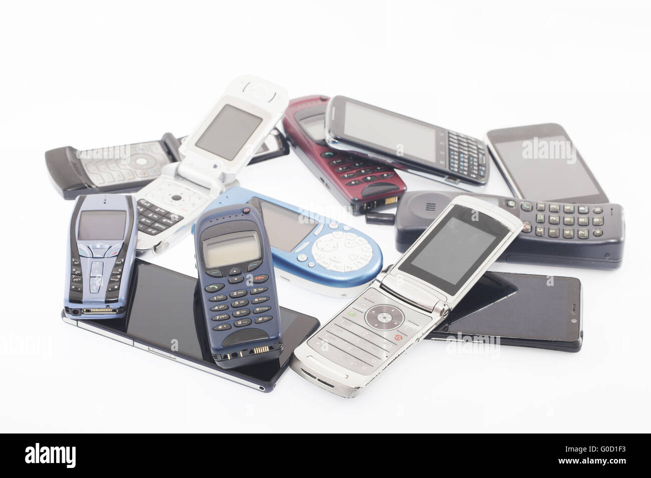 Vecchi e nuovi telefoni cellulari, smartphone Immagini Stock