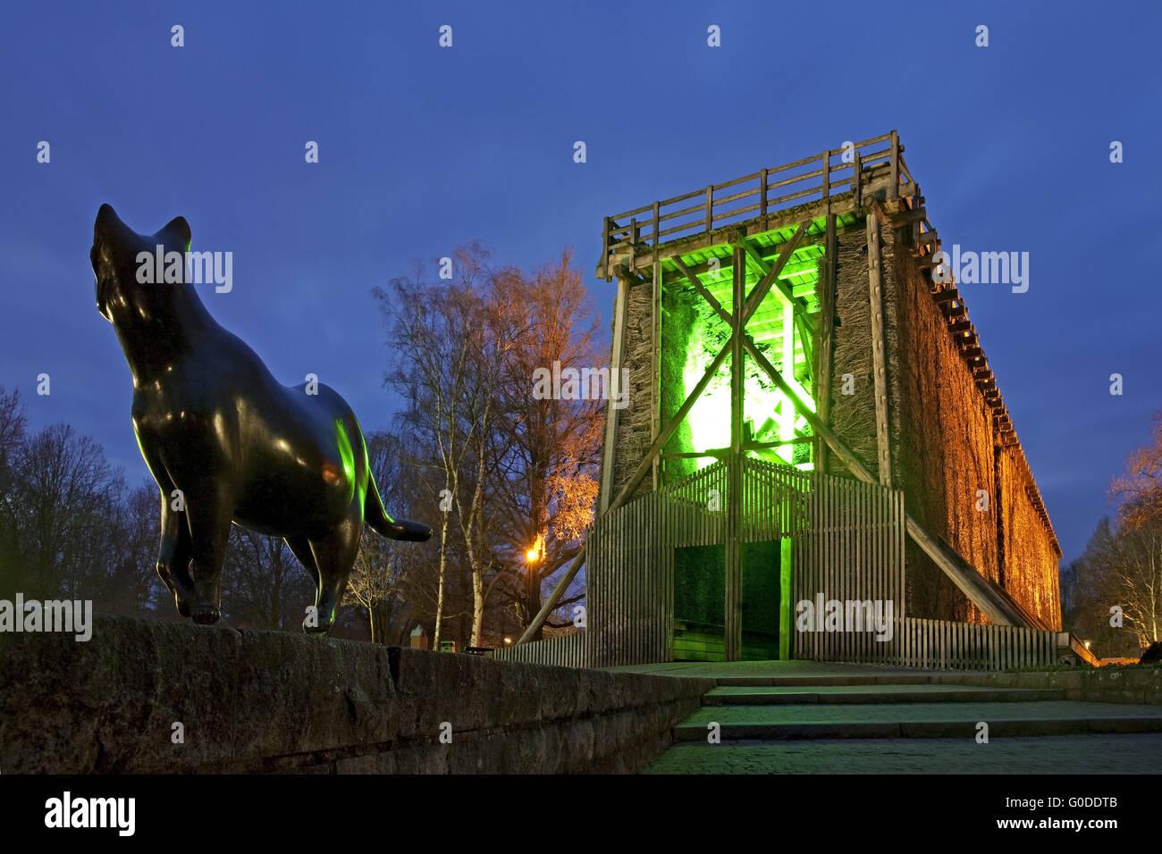 Illuminato torre di graduazione in Bad Sassendorf Foto Stock