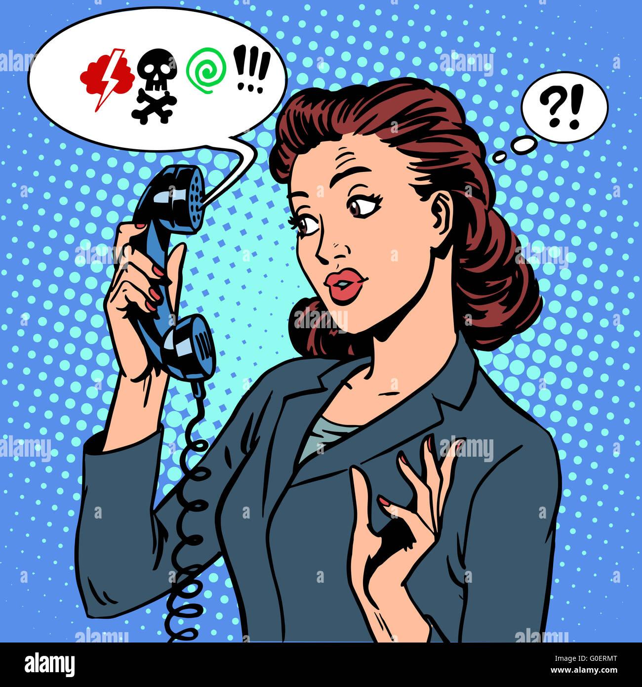 Pericoloso parlare la comunicazione telefonica virus business donna abuso Immagini Stock
