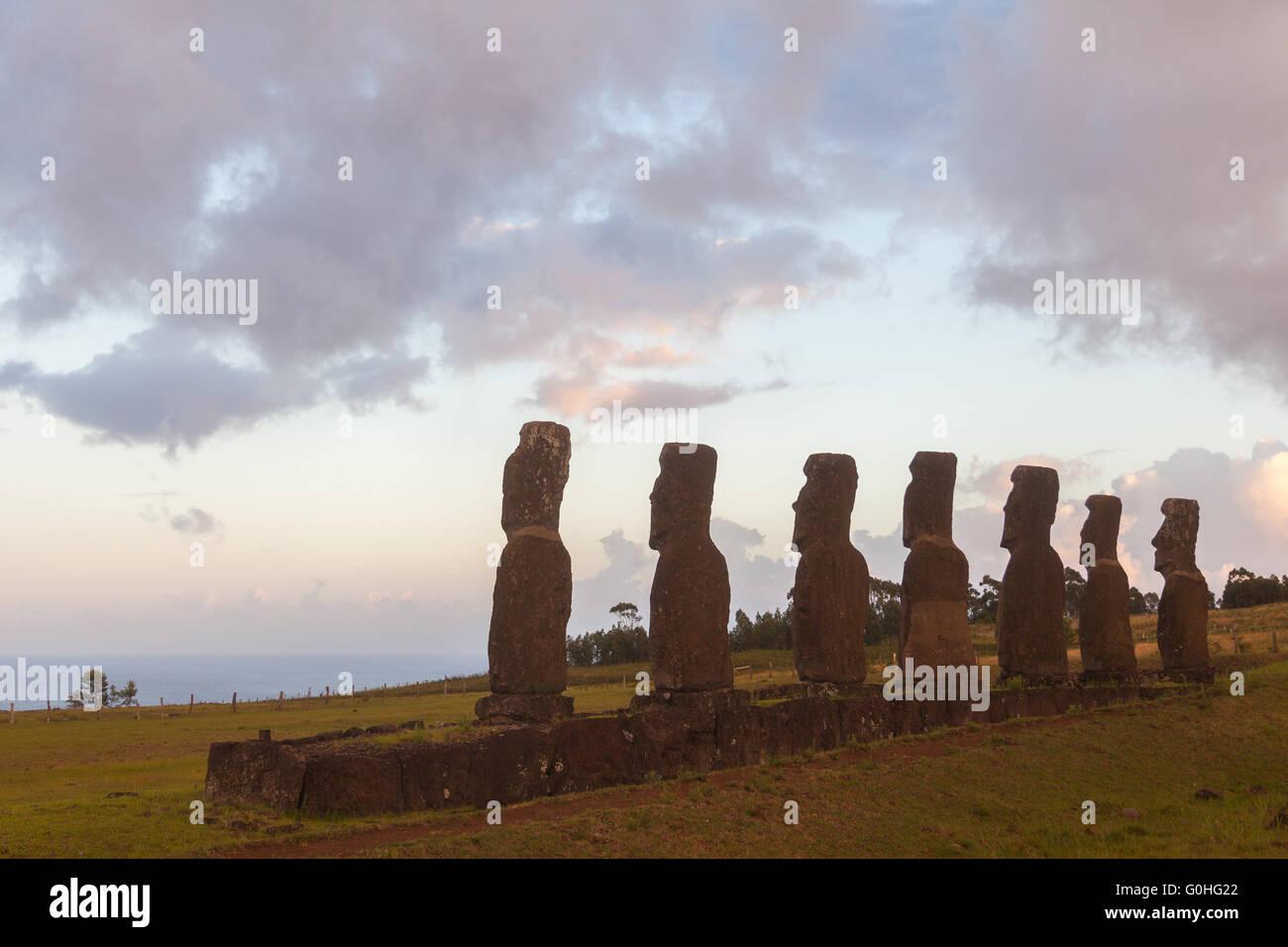 Ahu Akivi, Rapa Nui Immagini Stock