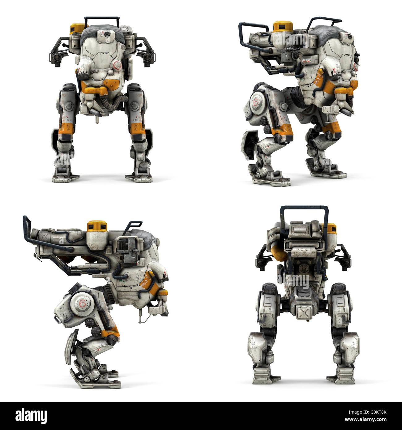Robot raccolta isolati di visualizzare il rendering 3D Immagini Stock
