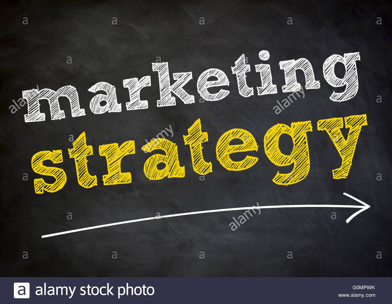 La strategia di marketing - Concetto di lavagna Immagini Stock
