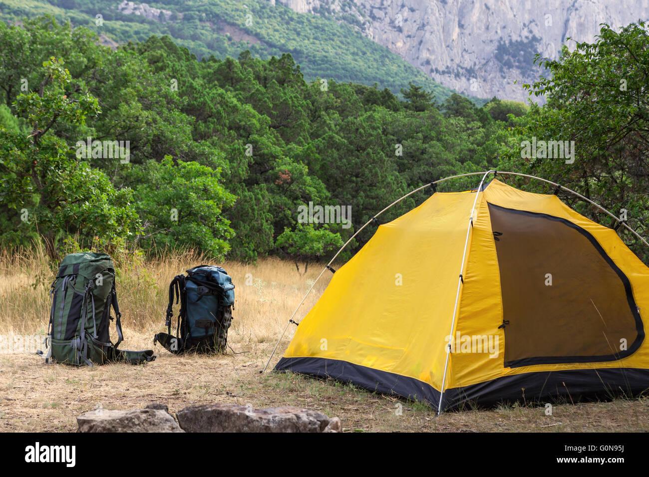 Due zaini e tenda sul prato Immagini Stock