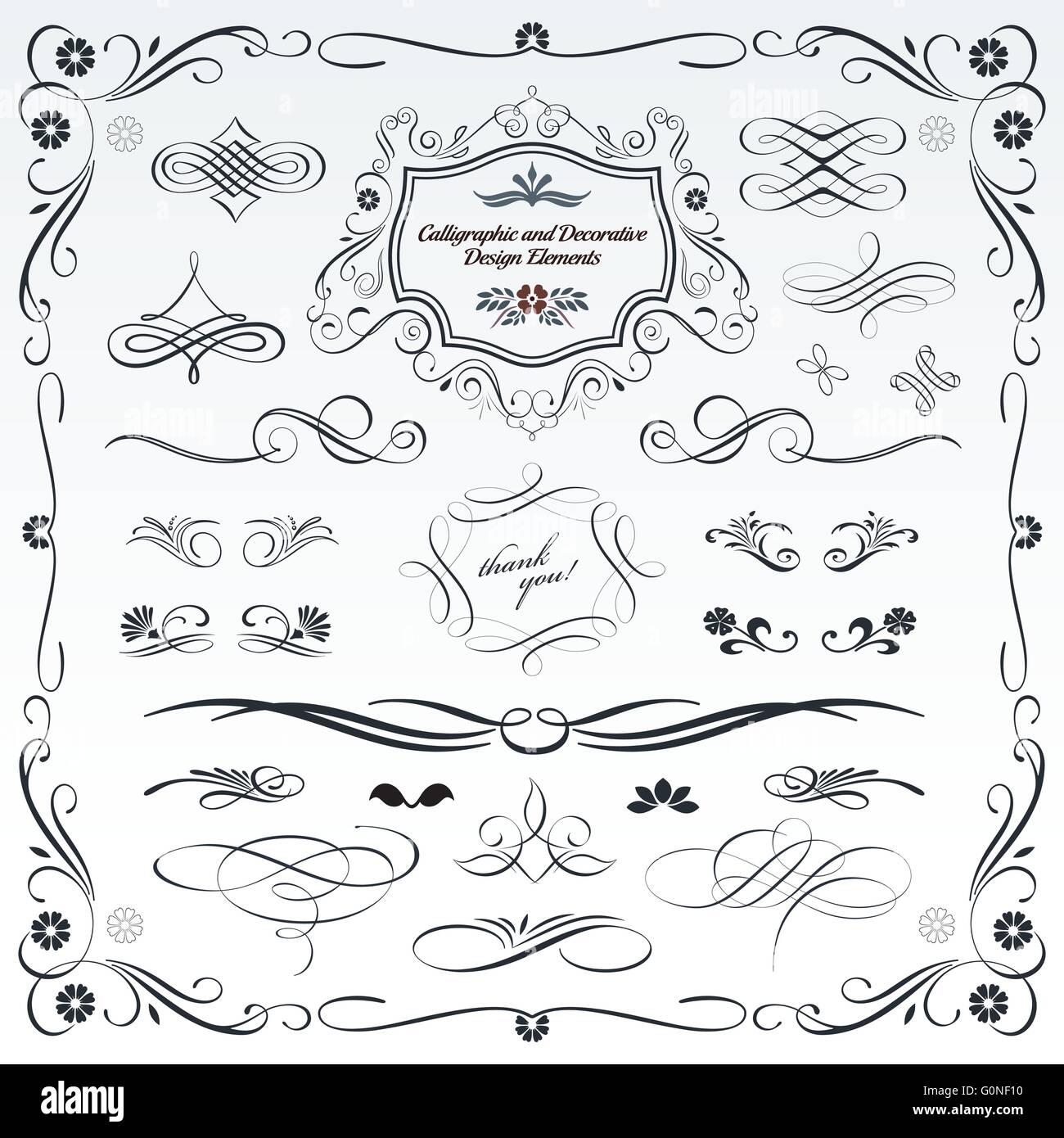 Raccolta di calligrafica decorativo e modelli di progettazione, abbellimenti in formato vettoriale. Immagini Stock