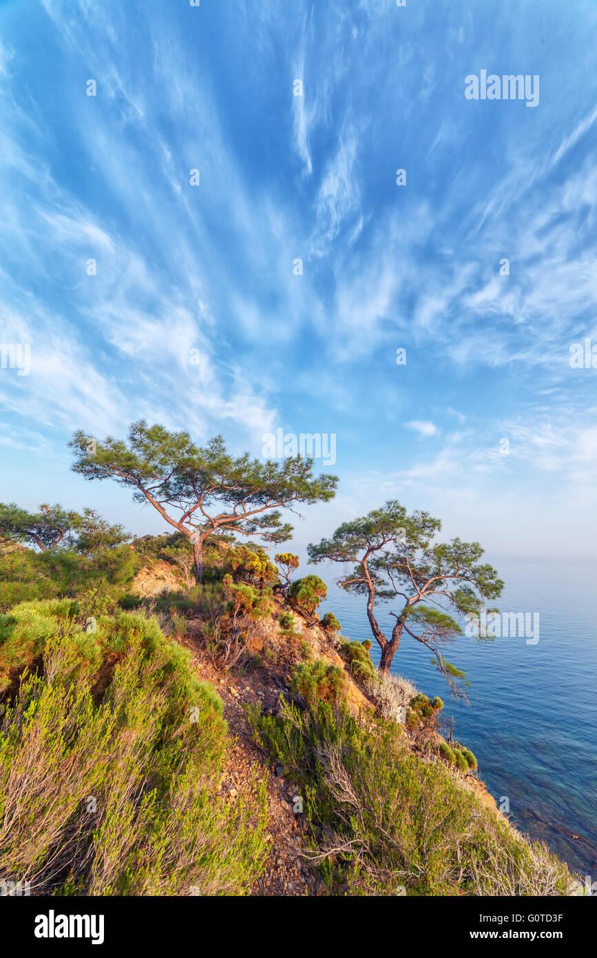 Incredibile paesaggio marino del Mediterraneo in Turchia Immagini Stock
