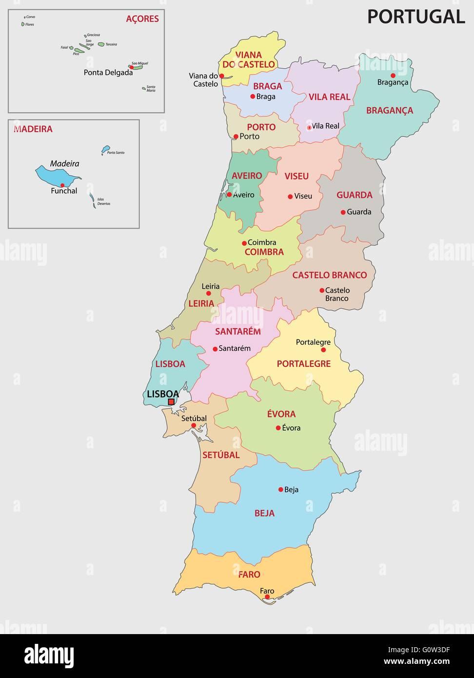 Portogallo Cartina Dettagliata.Il Portogallo Mappa Amministrativa Illustrazione Vettoriale