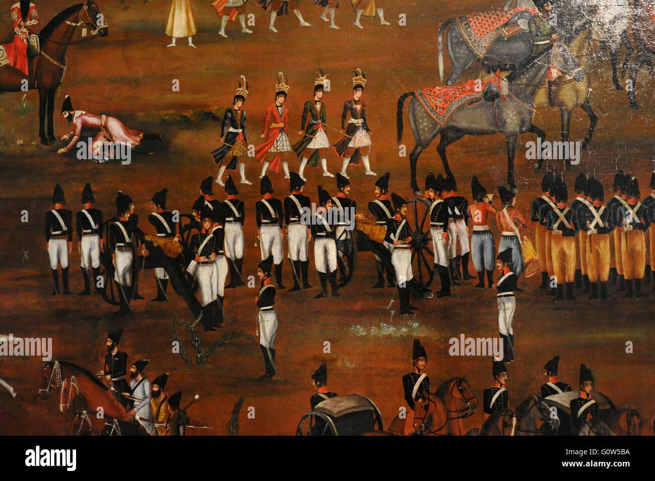 Artista sconosciuto. Revisione dell'esercito Presian da Fath 'Ali Shah. Iran, ca. 1815-1816. Olio su tela. Immagini Stock