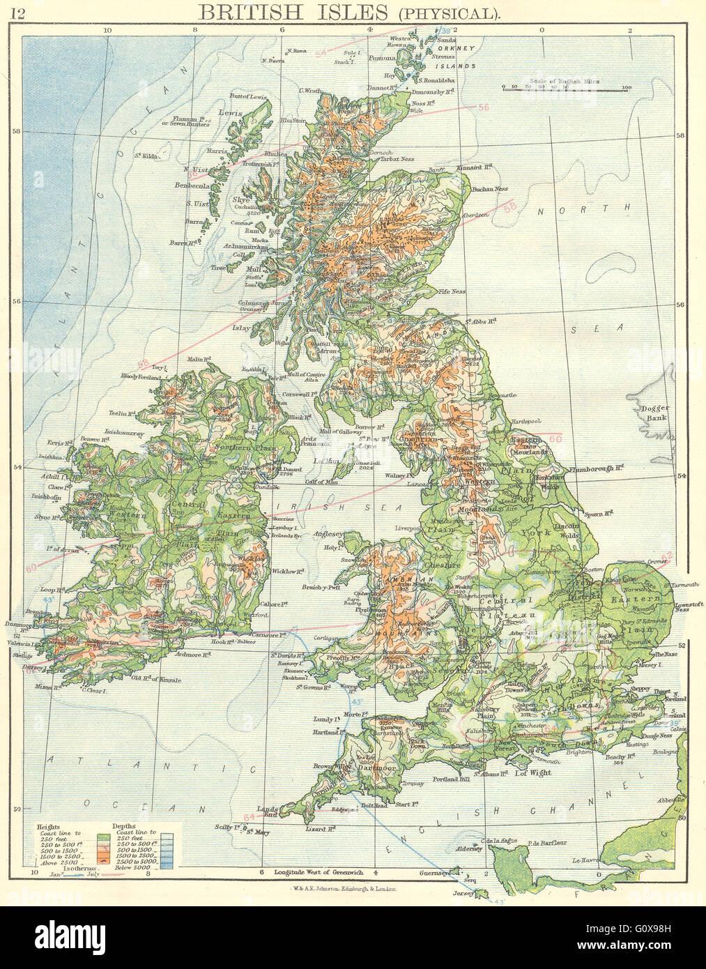 Cartina Geografica Politica Gran Bretagna.Regno Unito Isole Britanniche Fisica 1897 Mappa Antichi Foto Stock Alamy