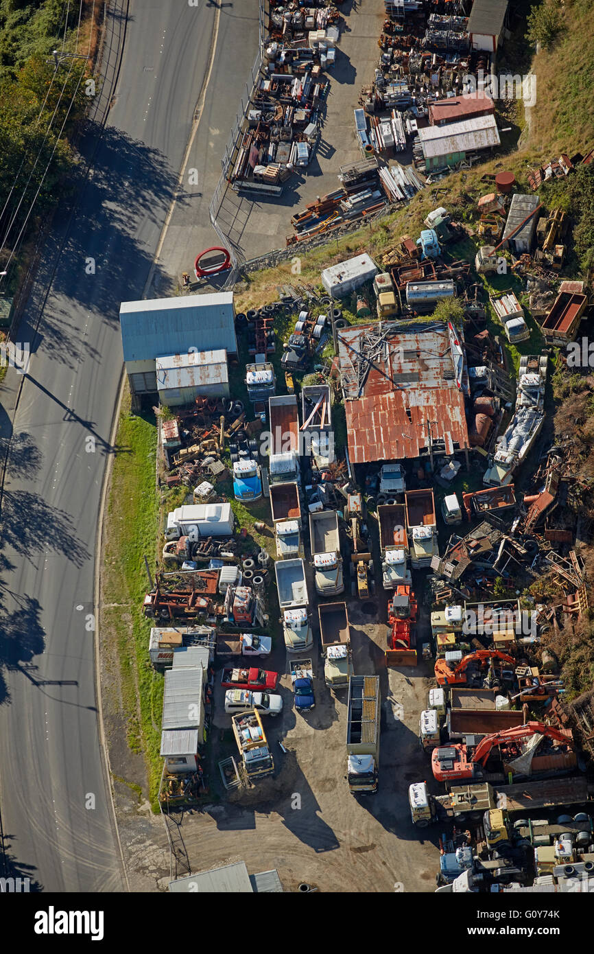 Vecchio camion e macchinari, Stone Street, Dunedin, Otago, South Island, in Nuova Zelanda - aerial Immagini Stock