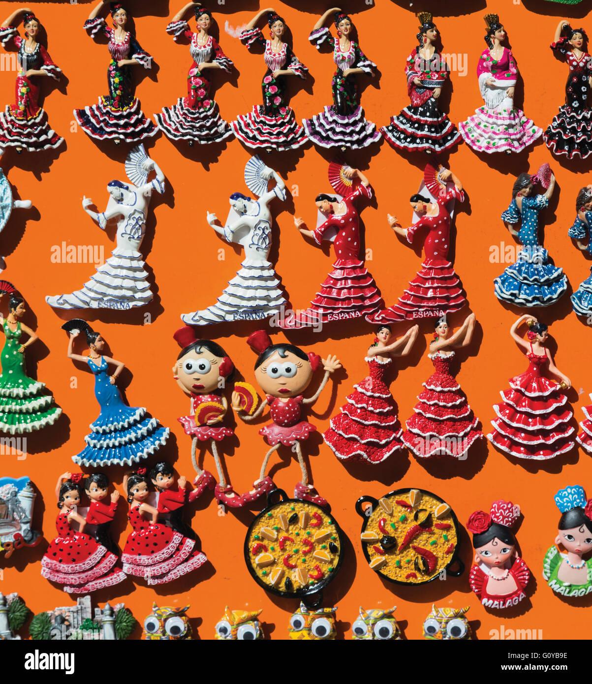 Spagna. La ballerina di flamenco souvenir magneti per il frigo. Immagini Stock