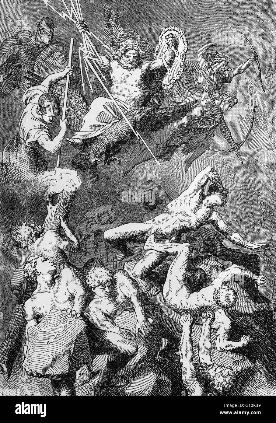 La mitologia greca, il combattimento tra la Divinità e i titani. La Grecia Foto Stock
