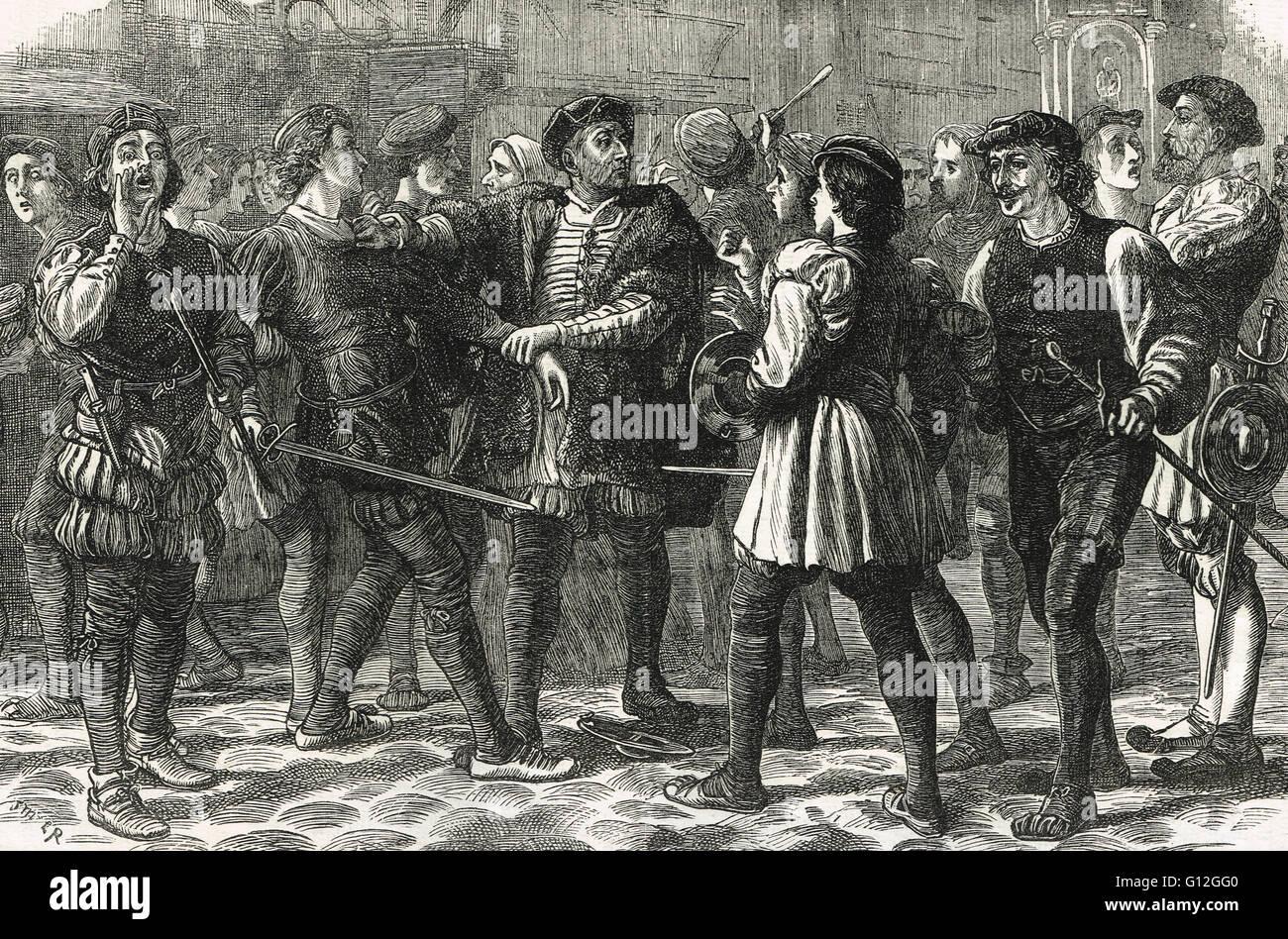 Il male può giorno sommossa in Cheapside 1517 Immagini Stock