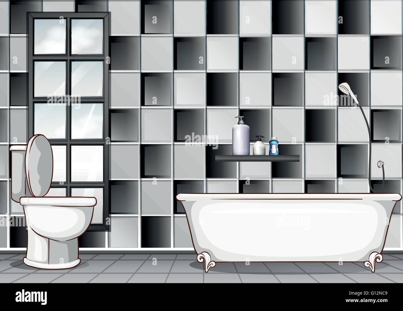 Bagno con piastrelle bianche e nere illustrazione illustrazione