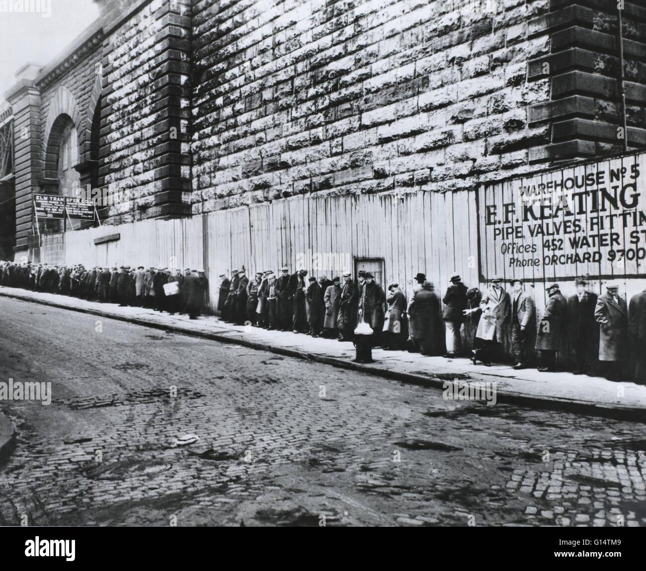 New York, New York. Pane riga accanto al Ponte di Brooklyn approccio durante la Grande depressione tra il 1930 e Immagini Stock