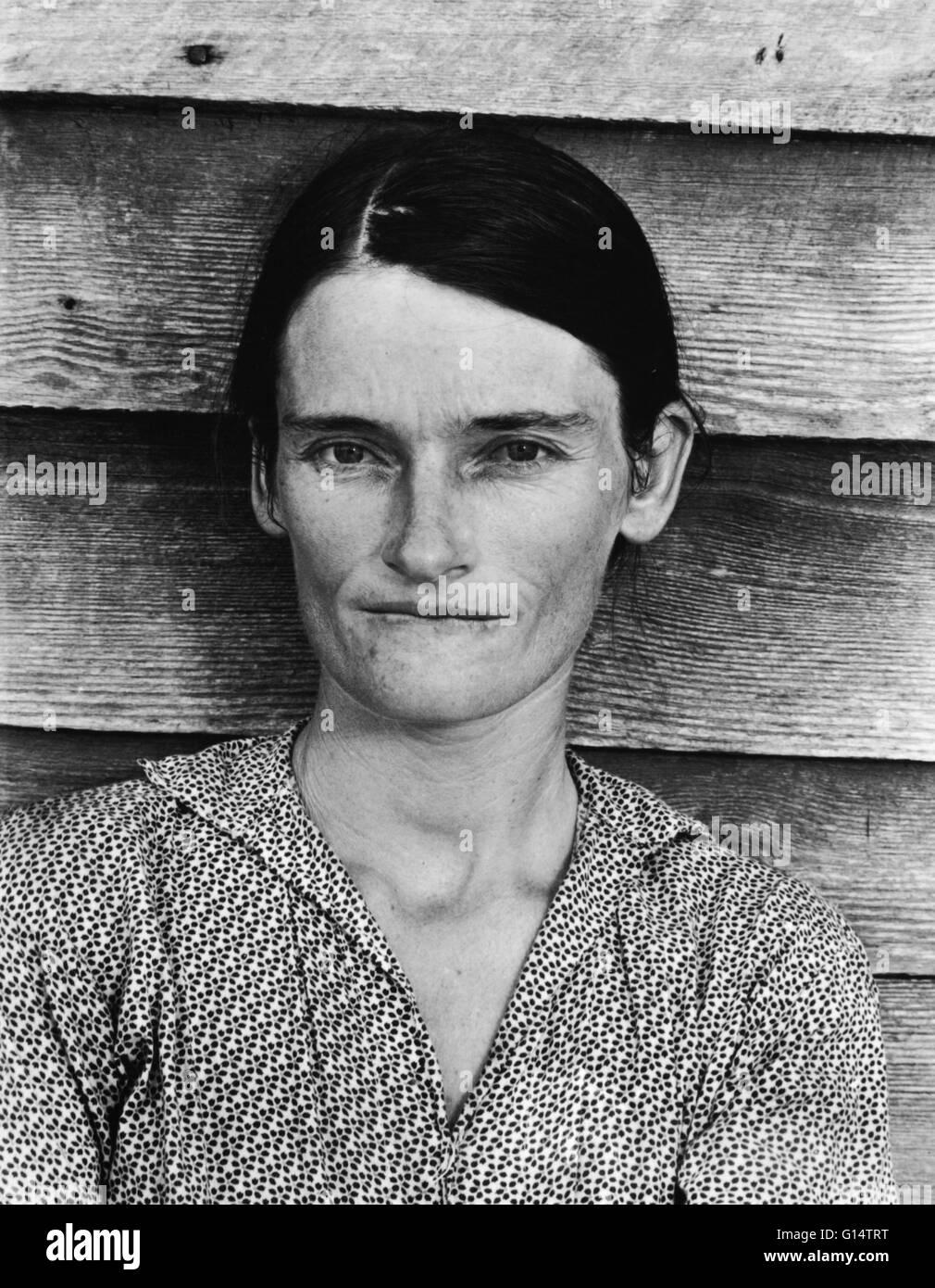 Walker Evans' ritratto di Allie Mae Burroughs, la moglie di un cotone mezzadri, divenne un emblema della Grande Immagini Stock