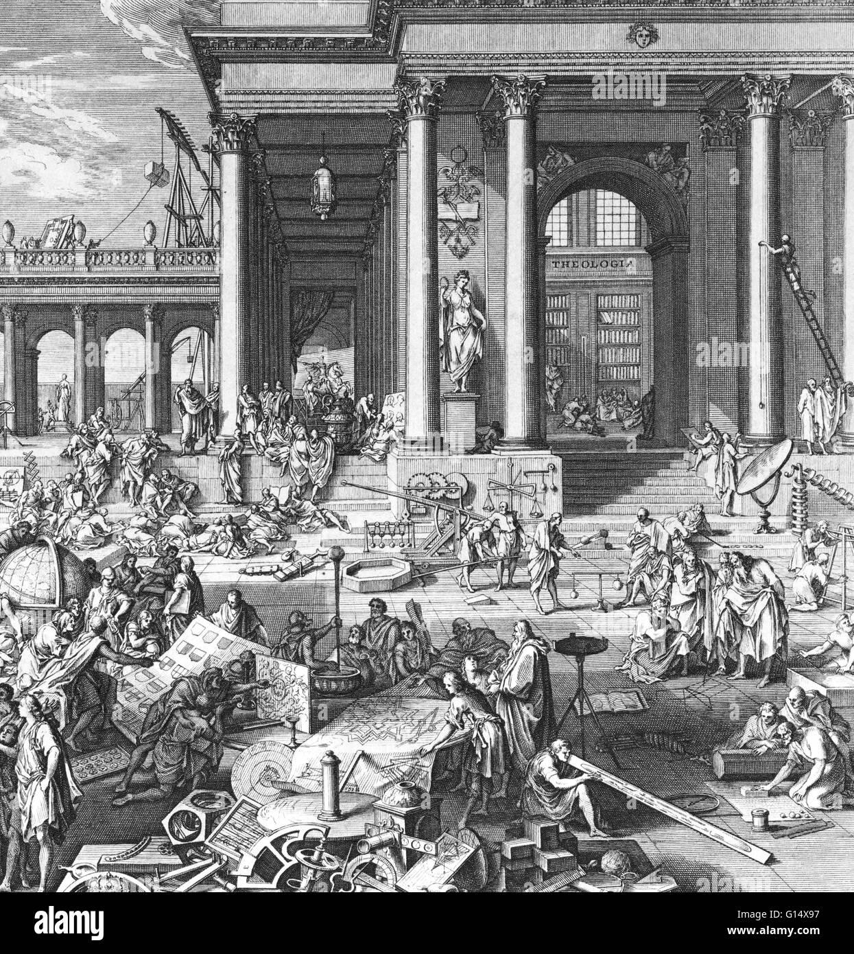 """""""L'Accademia delle Scienze e Belle Arti.' incisione di Sebastien LeClerc, 1698. Immagini Stock"""