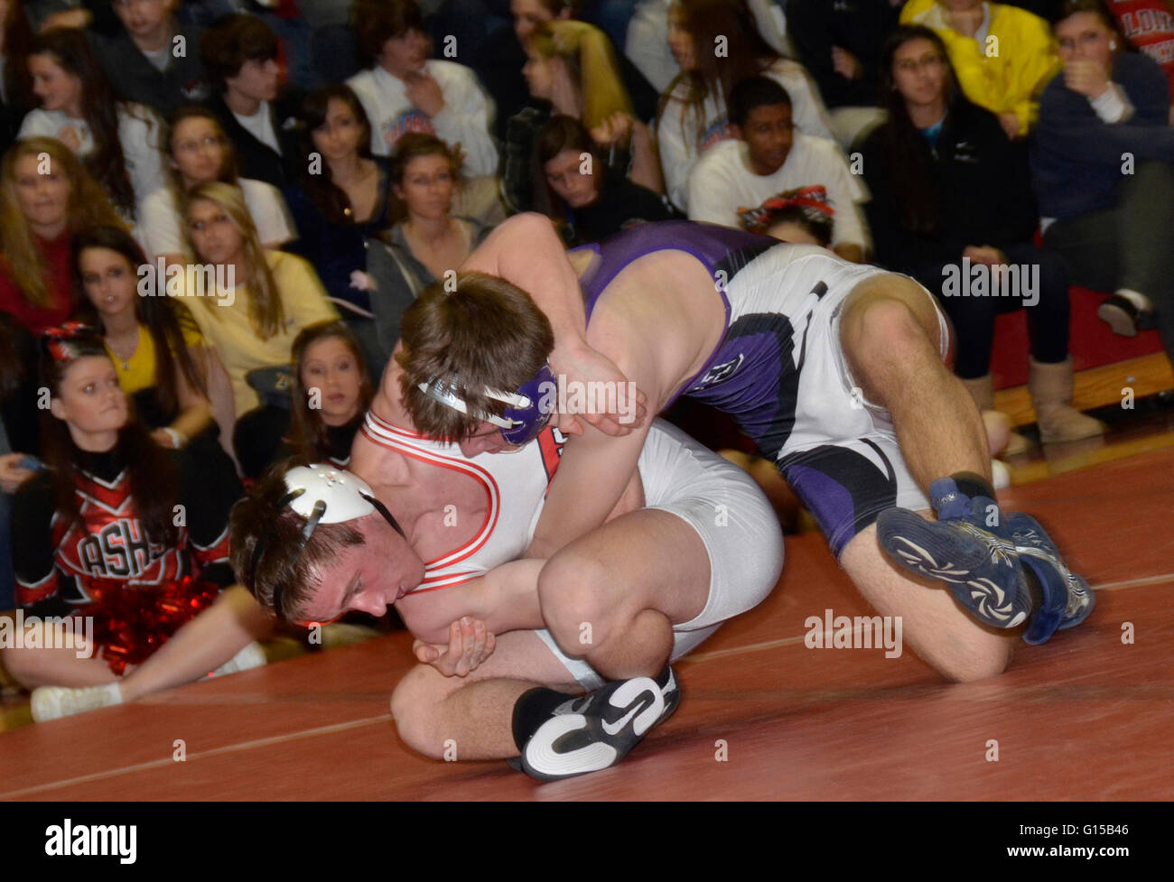 High school wrestling nel Crownsville, Maryland Immagini Stock