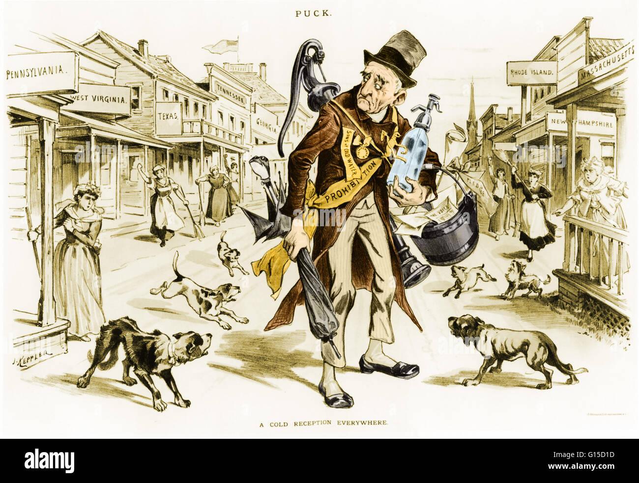 """Cartoon politico che mostra uomo vecchio divieto di ricevere """"una fredda accoglienza ovunque."""" Immagini Stock"""