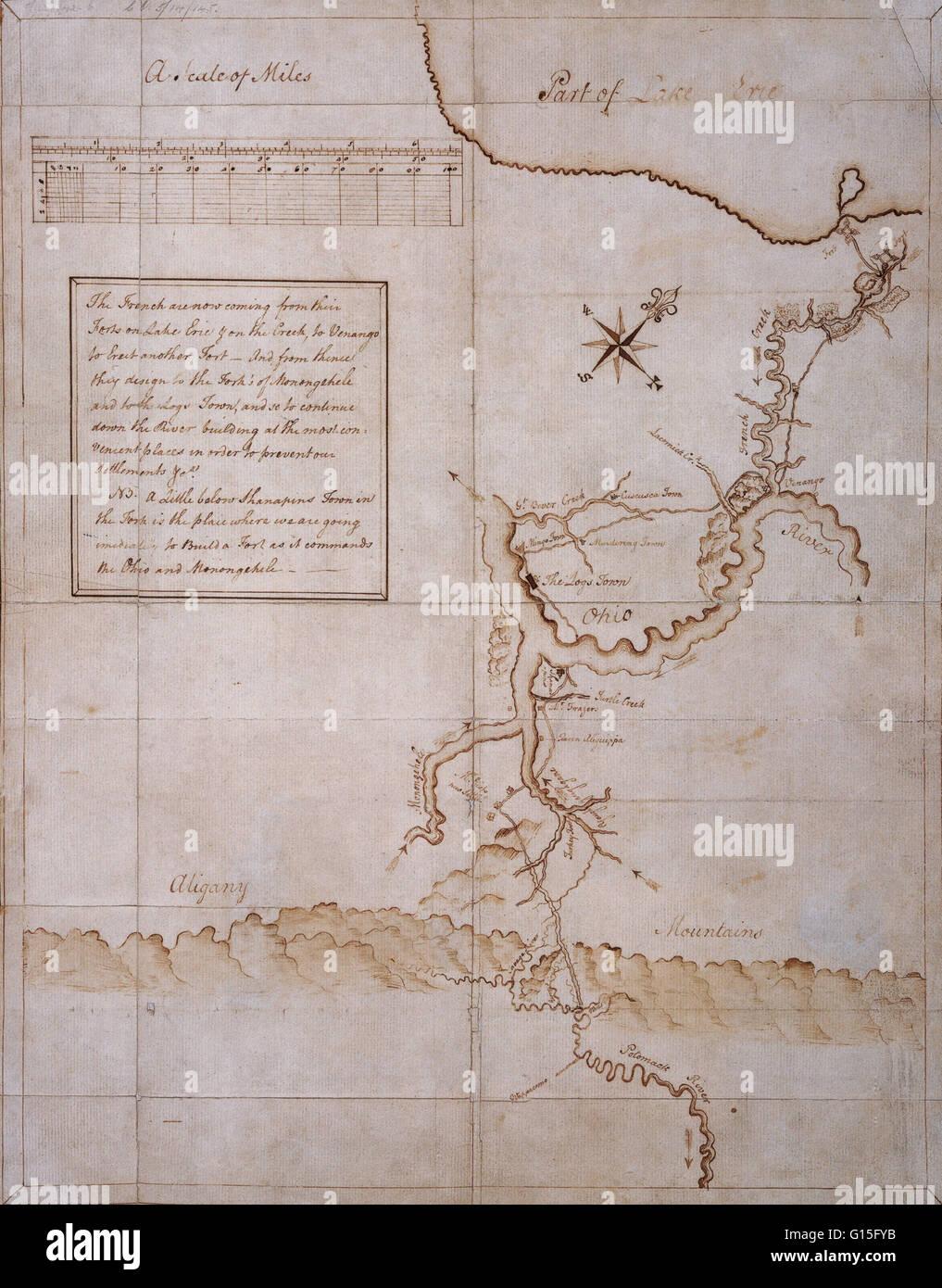 Manoscritto mappa disegnata da George Washington durante la campagna del 1753-54. Immagini Stock