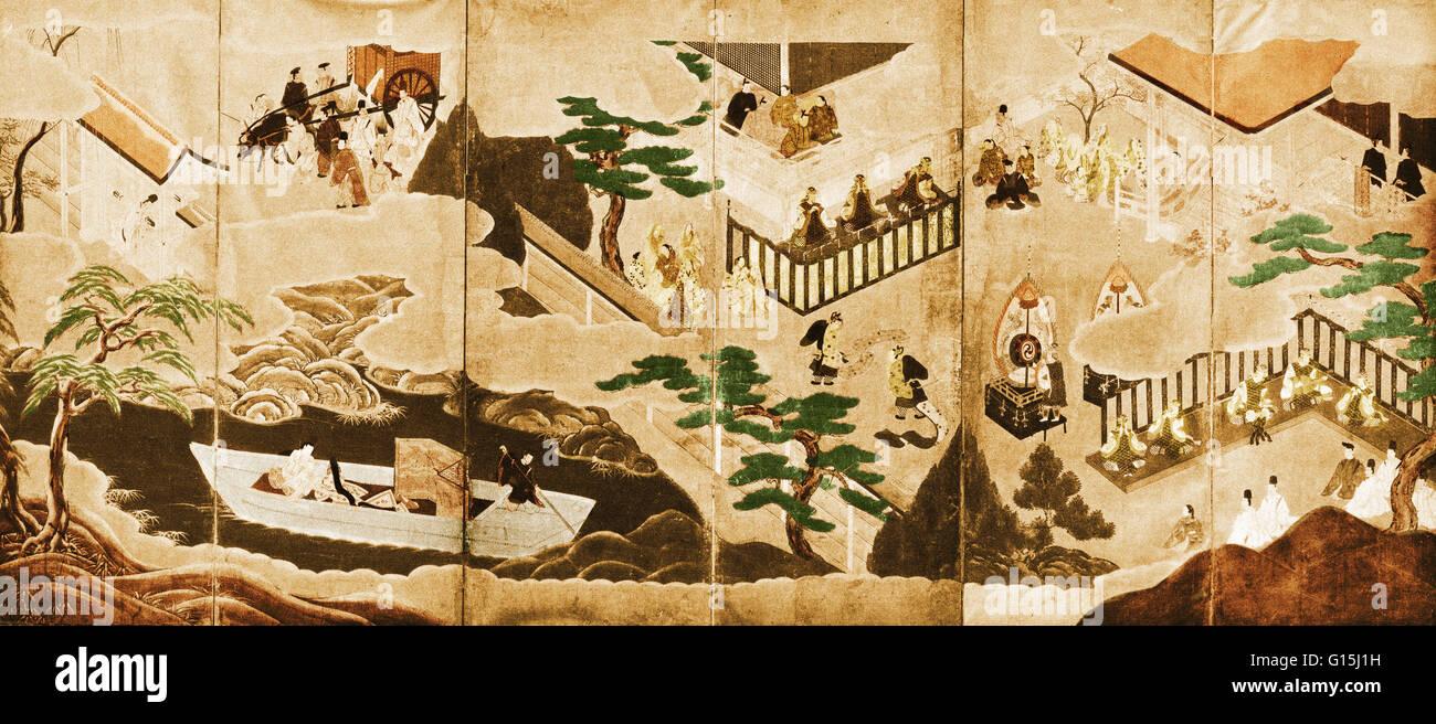 Scene dal racconto di Genji dipinta su un sei-piegatura del pannello dello schermo. Inizio del XVII secolo, Tosa Immagini Stock