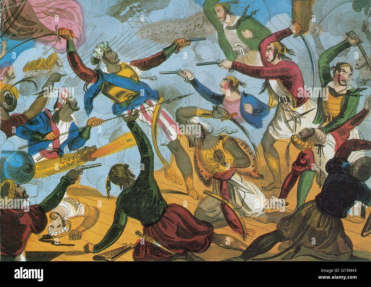 Ottoman corsari attaccando corsari greci. Armi da fuoco e le spade sguainate, greca e pirati turchi battaglia a Immagini Stock