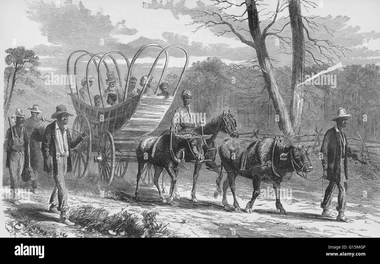 """Contrabands proveniente nel Campo federale del XIX secolo. Illustrazione didascalie: """"La guerra in Virginia Immagini Stock"""