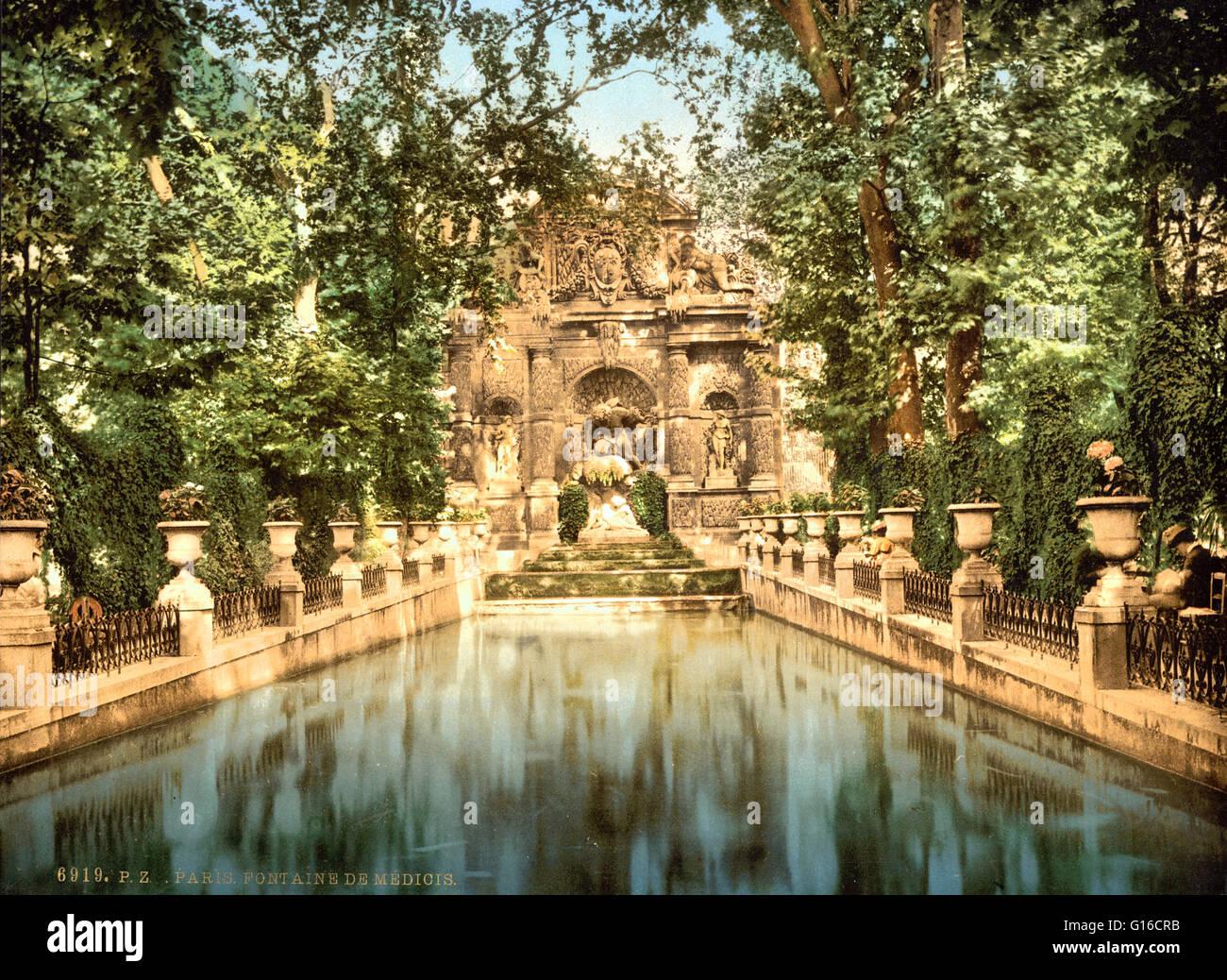 Giardini di lussemburgo i medici fontane parigi francia circa