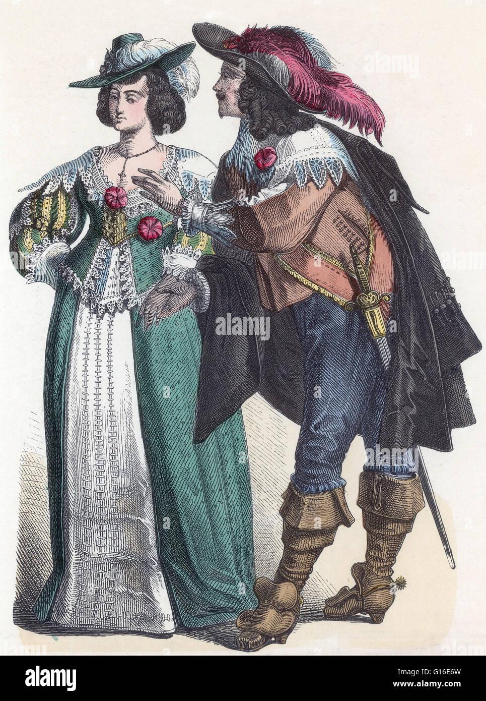 Dal titolo: 'nobiltà tedesca del periodo barocco.' Fashion nel periodo 1600-50 in Western abbigliamento Immagini Stock