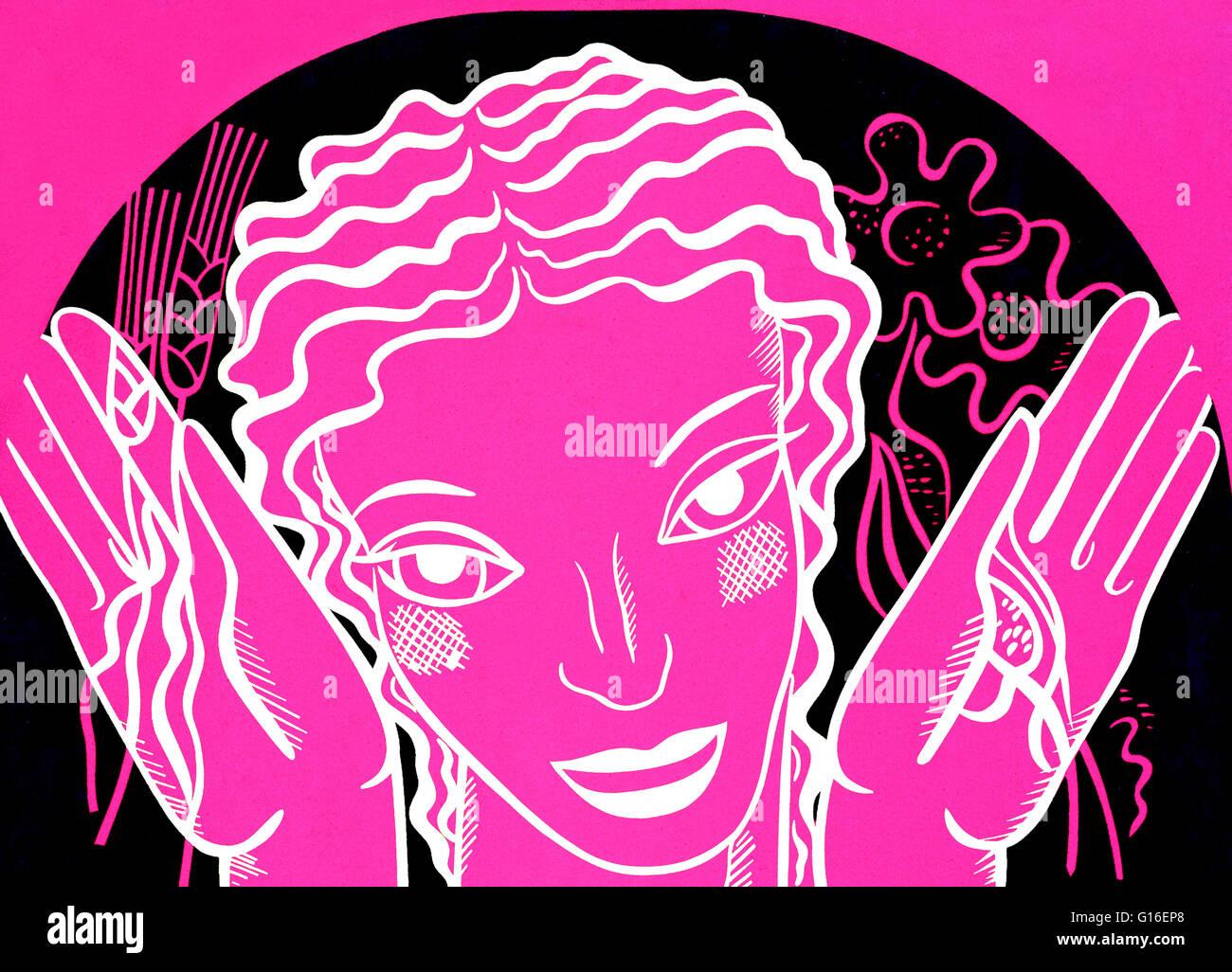 WPA design poster su sfondo rosa che mostra la testa e le mani di una donna tenendo i fiori e il grano. Il progetto Immagini Stock