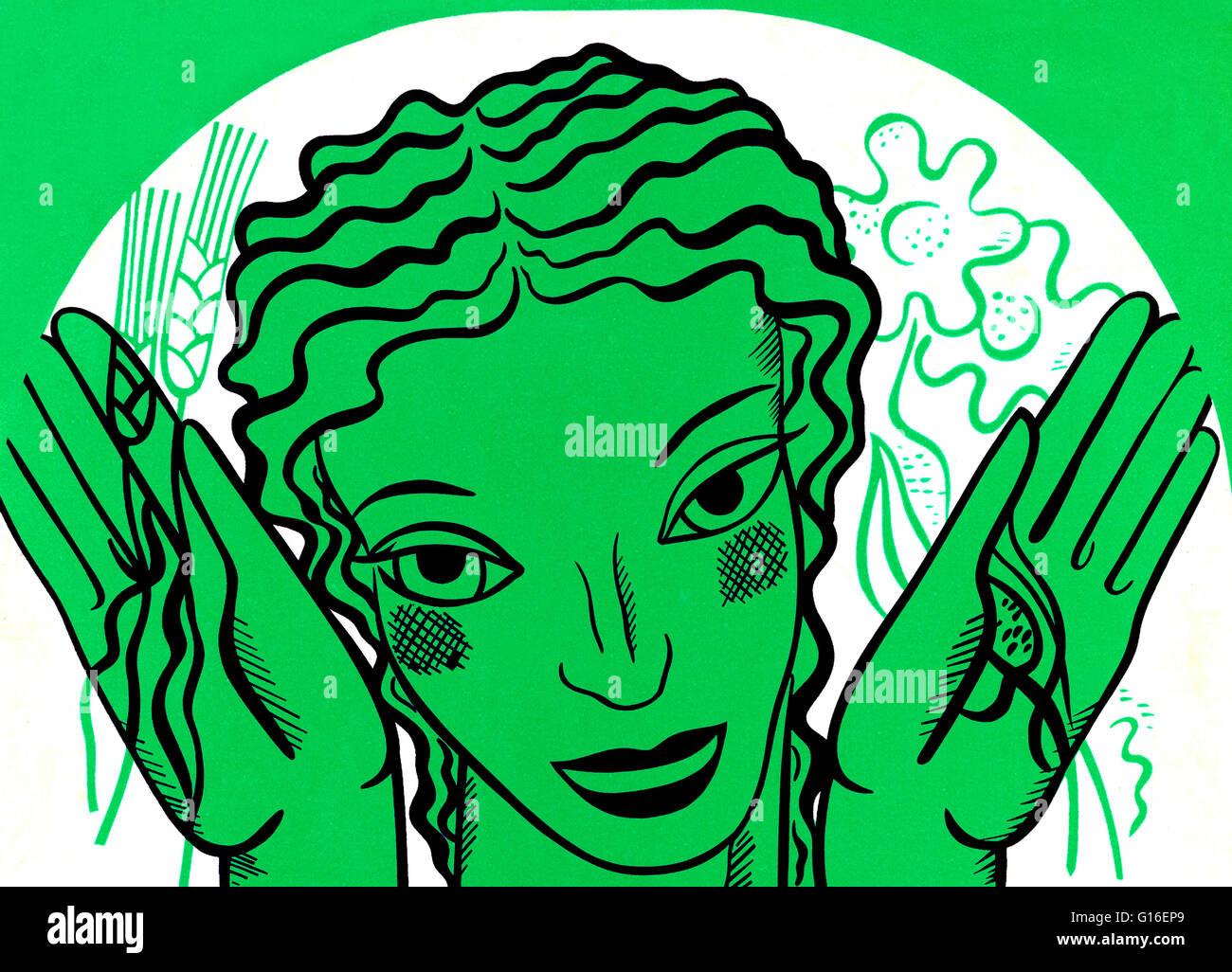 WPA design poster su sfondo verde che mostra la testa e le mani di una donna tenendo i fiori e il grano. Il progetto Immagini Stock