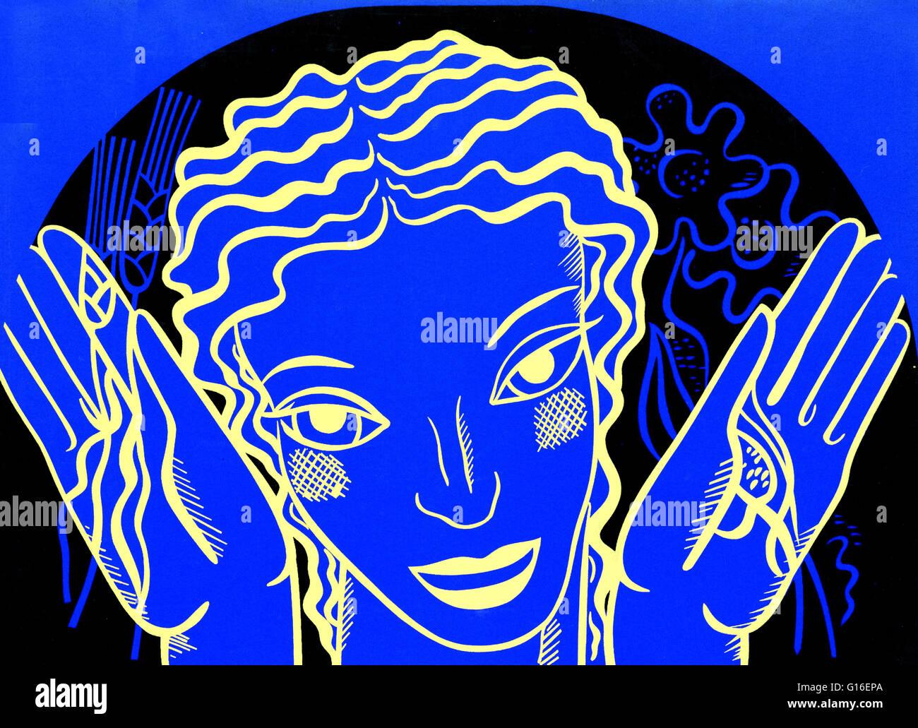 WPA design poster su sfondo blu che mostra la testa e le mani di una donna tenendo i fiori e il grano. Il progetto Immagini Stock